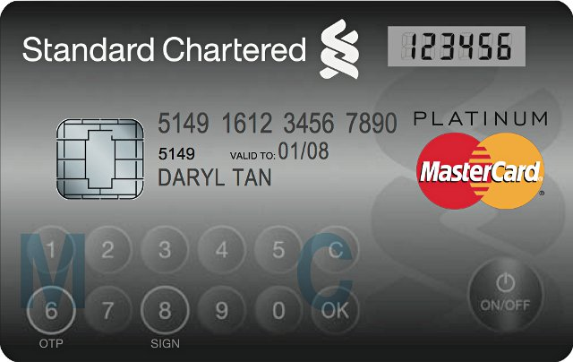 Standard Chartered's MasterCard Display Card packs display, text input
