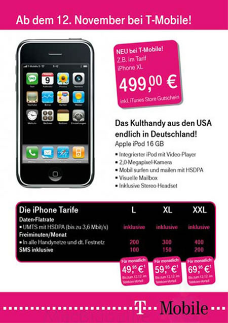 16GB iPhone with 3G coming says T-Mobile Germany Ad |
