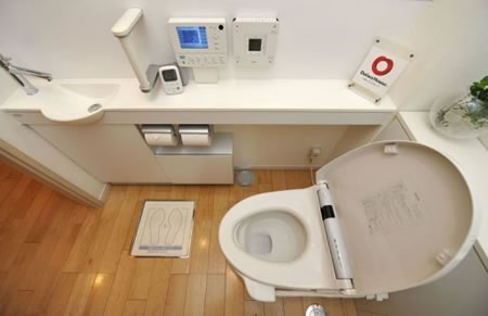 japanese toilet checks your health as you pee. Black Bedroom Furniture Sets. Home Design Ideas