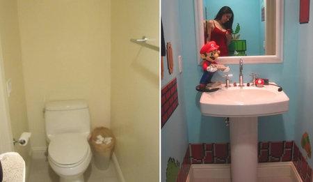 Super Mario Bros Comes Alive In This Bathroom Decor