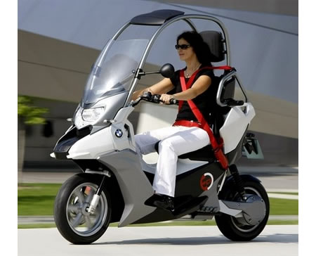 bmw c1 e electric scooter has a roof. Black Bedroom Furniture Sets. Home Design Ideas
