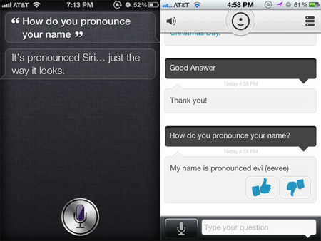 Siri faces stiff competition from Evi software