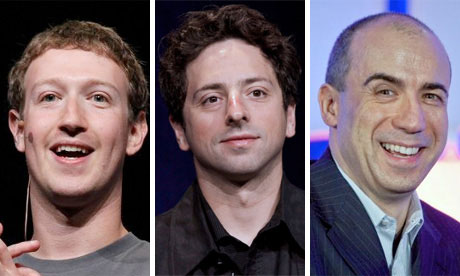 Mark Zuckerberg, Sergey Brin and Yuri Milner.
