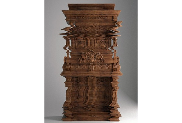 Hand-carved Good Vibrations cabinet appears as distorted as a glitch