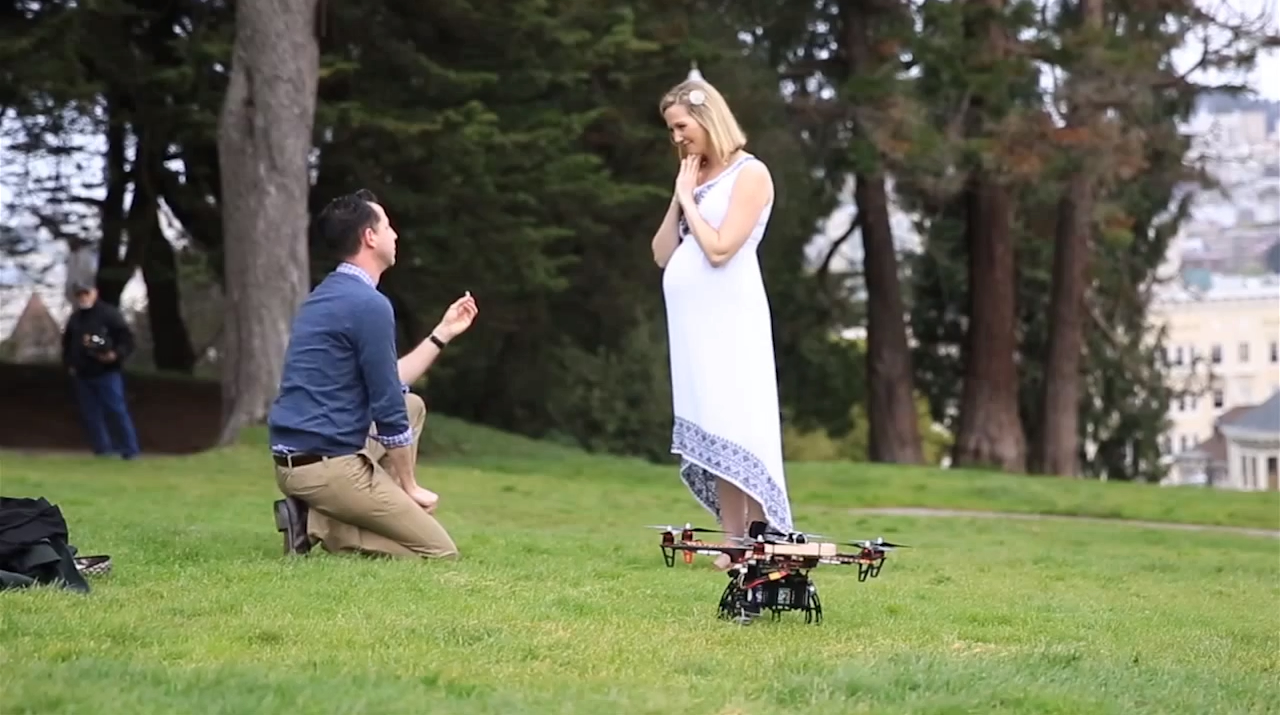 Quadcopter delivers Wedding Ring in a grand Wedding Proposal