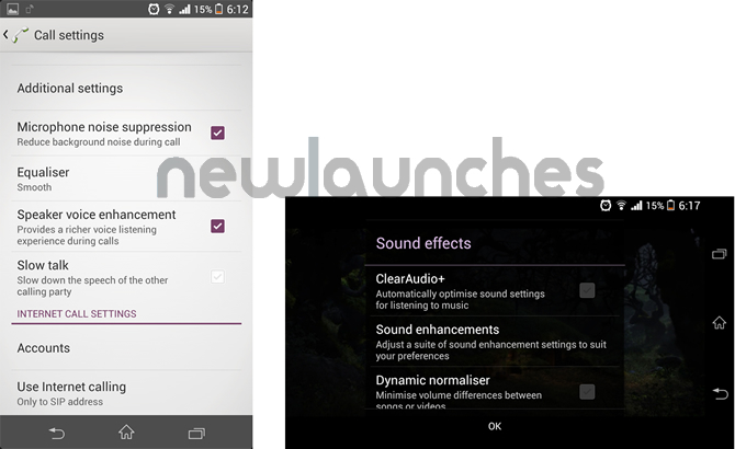 Xperia Z1call and video settings