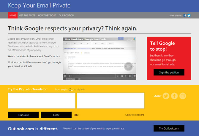 Microsoft tries to lure Gmail users by accusing Google of snooping emails for profit