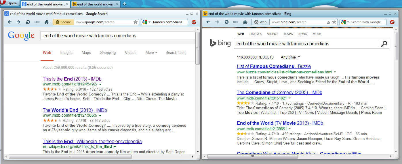 Google vs Bing – You judge for yourself