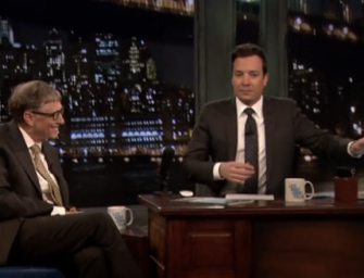 Jimmy Fallon commits an on-screen faux pas by hiding his Mac from Bill Gates