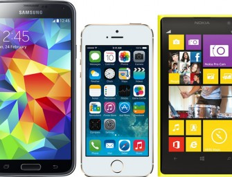 Samsung Galaxy S5 vs. Apple iPhone 5S vs. Nokia Lumia Icon; Battle of the Flagships