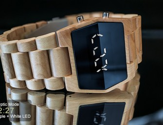 Kisai the Xtal Wood watch displays time in cryptic codes