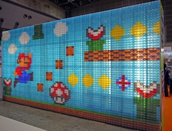 Colorful storage cases made into a Super Mario mural