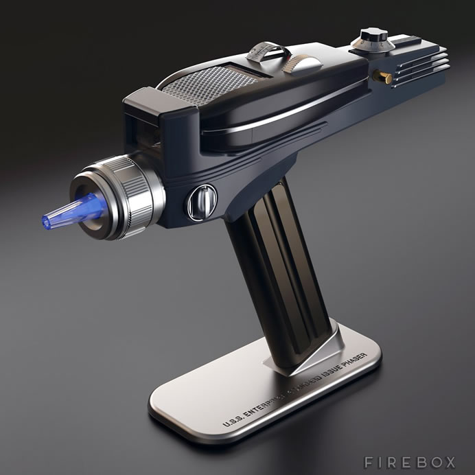 CBS' Star Trek Phaser remote control lights up when fired, comes with illuminated power cell