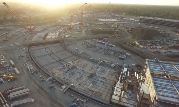 Apple spaceship campus drone footage 2