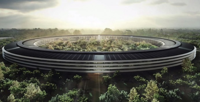 Apple spaceship campus drone footage 4