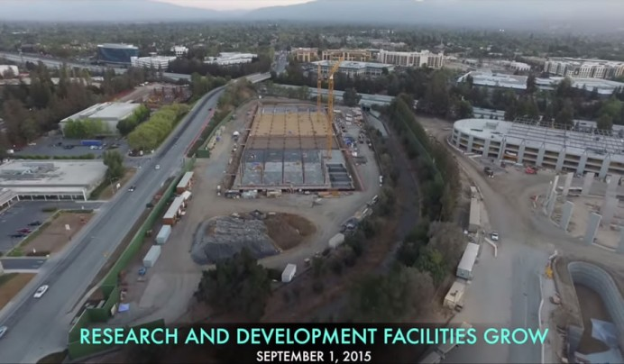 Apple spaceship campus drone footage 5