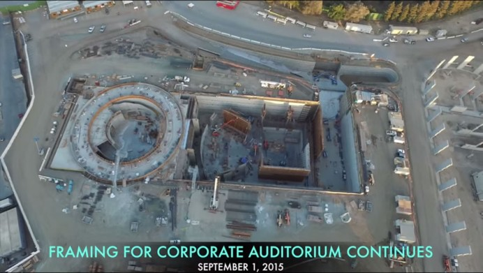 Apple spaceship campus drone footage 6