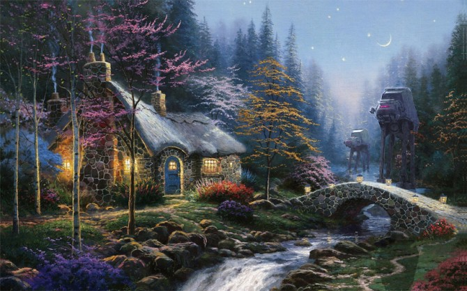 Thomas Kinkade Paintings Look Even Better When Mashed With Star Wars